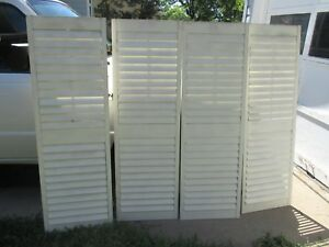 4 Louvered House Door Window Shutters White 56 1 4 H X 18 1 8 W