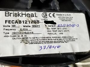 Briskheat Fecab12120b Constant Wattage Heating Cable 12 Watts ft 120v 10ft