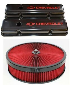 Chevrolet Sbc Black Steel Stock Valve Covers Red Logo Red Washable Air Cleaner