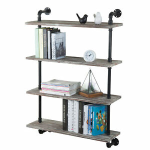 Mygift Wall mounted Torched Wood 4 tier Wood Shelf With Industrial Pipe Frame