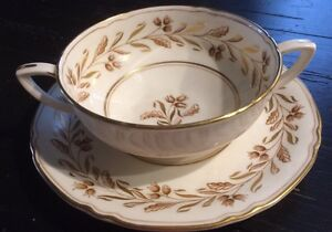 Royal Worcester Bone China Bullion Soup Cup Saucer Made In England