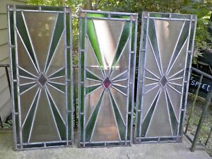 Set 3 Vtg Art Deco Stained Glass Windows 53 By 21 3 4 Nr