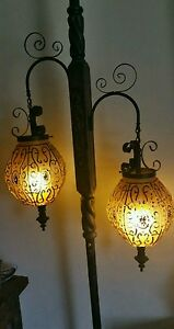 Vintage Mid Century Tension Pole Lamp Amber Glass Globes