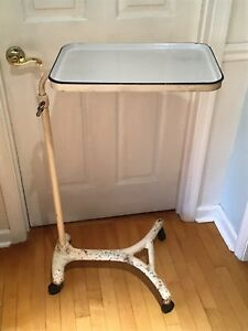 Antique Cast Iron Hospital Bed Table Medical Table With Porcelain Tray Insert