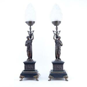 Large Antique Pair Spelter Marble Neoclassical Figural Ladies Lamps Flamme Shade