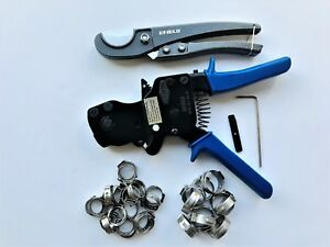 Pex Ratchet Cinch Clamp Crimper Tool Kit 3 8 1 With 30 Pcs Ss Clamps