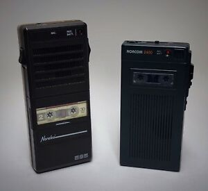 Two Vintage Mini Micro Cassette Tape Voice Recorders Norcom 2400 Norelco 585 Lot