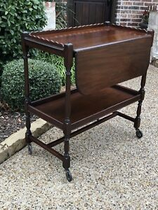 Antique French Mahogony Tea Cart Serving Trolley
