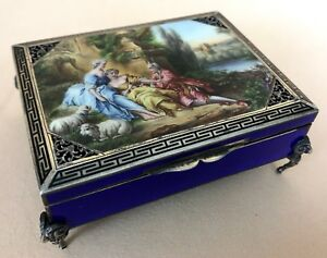 Antique Sterling Silver Enameled Box Guilloche Filigree Ram Head Feet