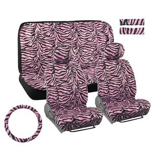 Bdk Pink Zebra 11 Piece Car Seat Covers Universal Fit Full Bench Pink