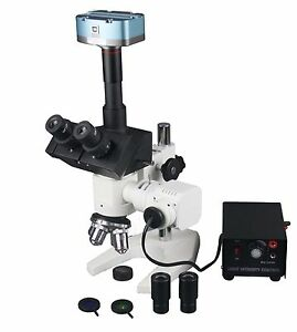 1200x Trinocular Metallurgy Microscope W 3mp Usb Camera Measuring Software