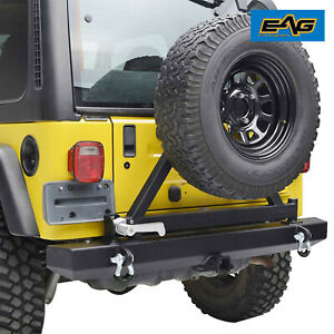 Eag Rear Bumper W Tire Carrier Hitch Receiver Fit For 87 06 Jeep Wrangler Yj Tj