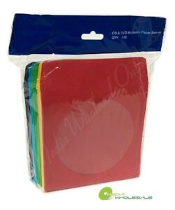 200 Cd Dvd Assorted Multi Color Paper Sleeves With Window And Flap Envelopes