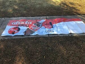 NOS VINTAGE 1996 ATLANTA OLYMPIC COCA COLA VINYL ADVERTISING BANNER 9-1/2'X 34