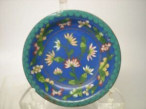 Vintage Miniature Chinese Cloisonne Lotus Flower Floral Plate 4 1 2 Bluepink