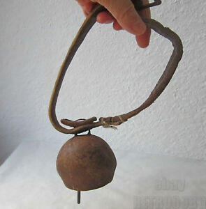 Early Antique Cow Sh P Livestock Leather Collar Iron Bell Old Farm Item