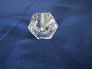 Antique Glass 6 Sided Drawer Handle Pull C1950 S Free Shipping