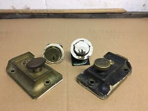 Lot 2 Antique Yale Eagle Deadbolt Door Rim Lock Vintage Hardware Locks