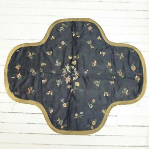 Antique 1900 S China Chinese Black Silk Tablecloth W Embroidered Floral Pattern