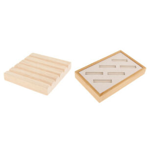 2pcs Household Desk Wood Earring Ring Storage Display Tray Organizer Holder