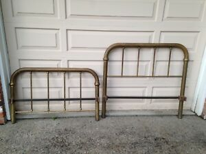 Antique Cast Iron Brass Twin Bed Frame With Rails