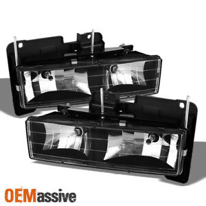 Fits Black 88 99 Chevy Gmc C10 C k Pickup Silverado Sierra Headlights Lamps