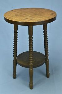 Antique Salesman Sample Round Oak Parlor Table Small Size 17 75 Tall Old 05710