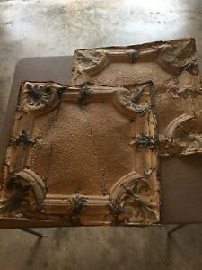 Two Tin Architectural Ceiling Antique Tiles 24 1 2 X 24 1 2