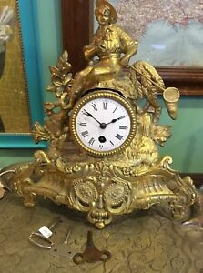 Ormolu Clock French Fisherman In As Found Order