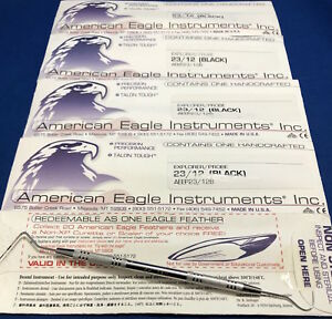 American Eagle Dental Explorer probe 23 12 Black Set Of 5 23 12b New