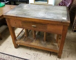 Antique Vintage Stone Top And Wood Work Shop Table Kitchen Island