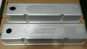 Very Rare Vintage Old School Chevy Aluminum Valve Covers Sbc Chevrolet