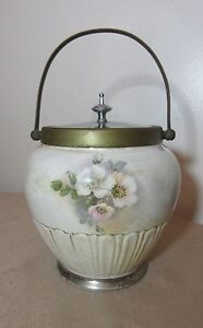 Antique Silver Plated Bronze And Pottery Floral Biscuit Cookie Jar Bucket Pail