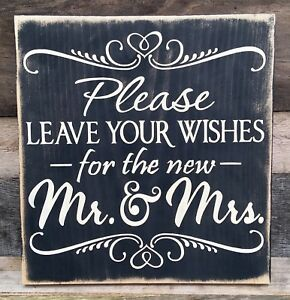 Rustic Wedding Farmhouse Wood Sign Choose Please Leave Your Wishes Love Bride