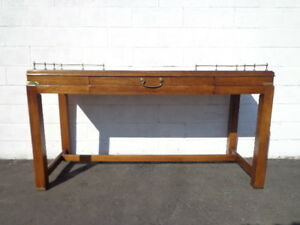 Vintage Campaign Desk Console Sofa Table Gold Brass Mid Century Modern Mcm Asian
