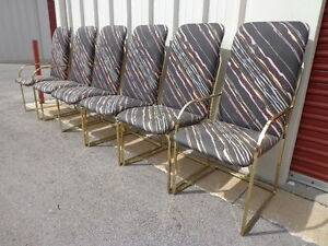 6 Chairs Milo Baughman Dia Brass Metal Mid Century Modern Mcm Hollywood Regency