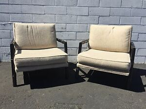 Pair Of Chairs Faux Bamboo Set Armchairs Chinoiserie Chinese Chippendale Vintage