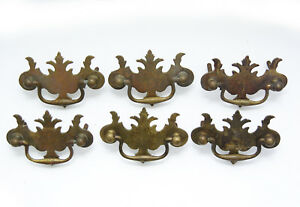 Antique Chippendale Cast Brass Drawer Pulls Drop Handle And Ball X 6 Batwing Fed