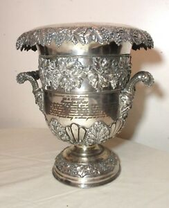 Rare Antique Silver Sheffield Plate Presentation Wine Chiller Cooler Ice Bucket
