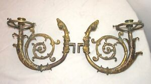 Pair Antique 1800 S Victorian Ornate Dore Bronze Wall Candle Holder Sconce Arms