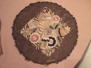 Antique 1800s Hand Embroidered Roundel Centerpiece 2sided Needlepoint 13inch Mat