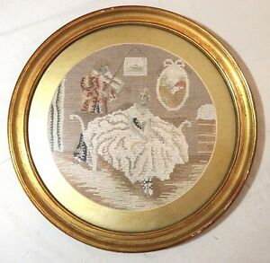 Antique Victorian Hand Embroidered Figural Needlepoint Art Ballerina Embroidery