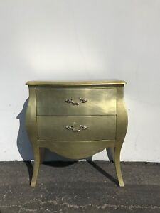 French Provincial Nightstand Dresser Table Bombe Gold Gilt Bachelor Chest