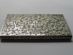 Antique Italian 800 Sterling Silver Cigarette Case Large And Beautifully Chased
