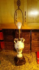 Antique Large Vintage 30 Porcelain Urn Table White Gold Flowers With Finial