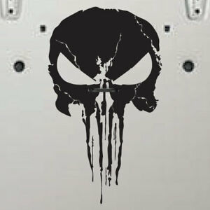 Punisher Skull Distressed Wrangler Jeep Suv Hood Grunge Vinyl Decal Graphic Car