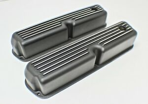 Ford Windsor 289 302 351 Black Tall Rocker Covers Finned W Grommets Bolts