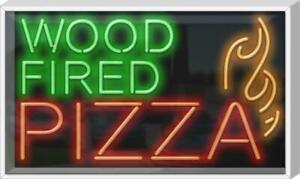 Outdoor Wood Fired Pizza Neon Sign Outdoor Jantec 37 Wide X 22 High