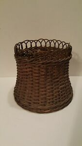 Antique Victorian Wicker Fern Planter Or Sewing Basket Natural Finish Sturdy
