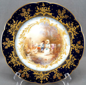 Limoges Sevres Style Hand Painted Signed Courting Couple Cobalt Gold Plate B